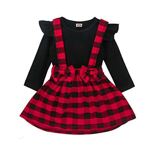 Disfraz de Navidad para bebé niña, 2 piezas, camiseta de manga larga con volantes, color liso + falda con tirantes a cuadros con lazo, Manta roja., 2-3 años