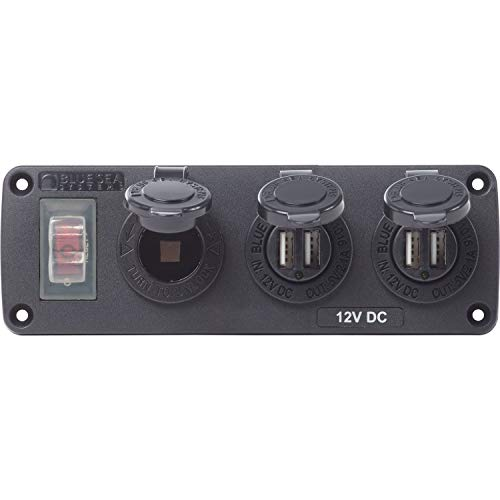 Blue Sea Systems 4365-BSS Water-Resistant Accessory Panel - 15A Circuit Breaker, 12V Socket, 2X 2.1A Dual USB Chargers,Black