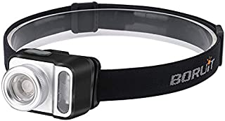 Boruit Best Zoomable Headlamp, 5 Modes 200 Lumen White & Red LED Light Waterproof Camera Headlight, Adjustable Sweat Absor...