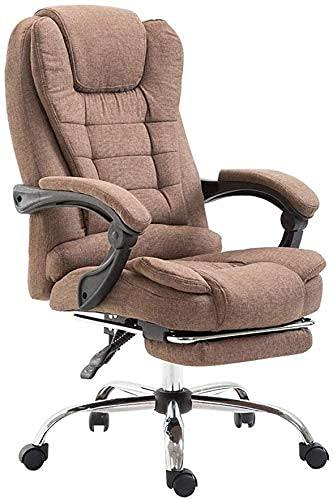 RTYUI Silla de oficina ergonómica para computadora giratoria con respaldo alto, cojín de esponja suave, silla de trabajo con reposapiés reclinable, color marrón