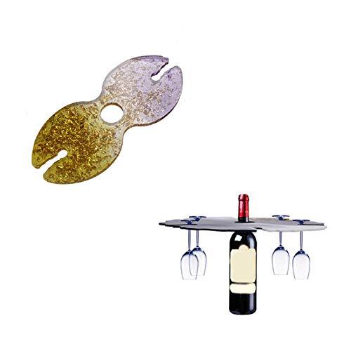 RUIYELE Molde de resina epoxi de silicona para fundición de vino, moldes de resina, soporte de vidrio, molde para hacer botellas, bandeja para manualidades, decoración de cristal epoxi