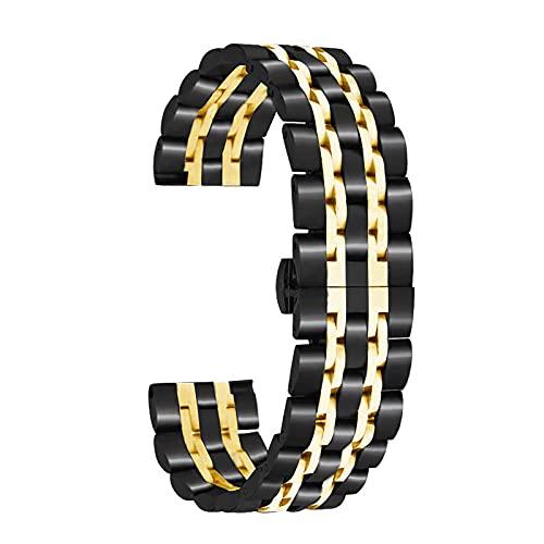 Correa de reloj Edelsta de 20 mm con extremo recto de cierre rápido, pulido con hebilla de mariposa, compatible con reloj inteligente tradicional de 20 mm