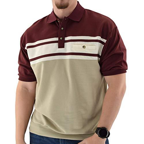 Classics by Palmland Horizontal French Terry Short Sleeve Banded Bottom Shirt Big and Tall Burgundy 6090-BL1 (3XLT, Burgundy)