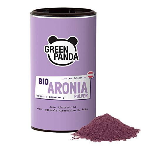 Green Panda® Bio Aronia Pulver aus Österreich, aus getrockneten Aroniabeeren und fein gemahlen, Aronia Beeren in Bio Qualität ohne Zusätze, regionale Alternative zu Acai Pulver und Goji Beeren, 185 g