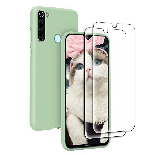 Funda Líquida para Xiaomi Redmi Note 8T + 2* Cristal Templado Protector de Pantalla, Carcasa Líquido Ultra Delgado Suave TPU Silicona Anti-Rasguño y Resistente Protectora Caso - Verde