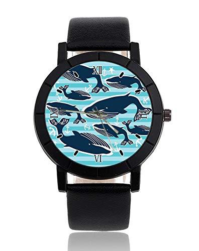 Reloj de Pulsera con diseño de Ballenas y Anclas, Correa de Piel, Reloj Casual para Hombre