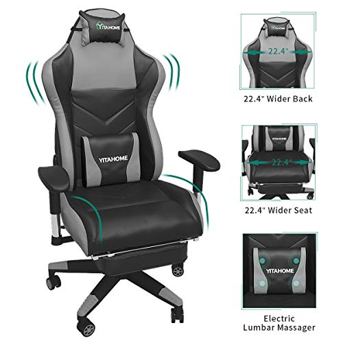 YITAHOME Massage Gaming Chair, Heavy Duty Big and Tall Computer Racing Desk Chair with Footrest, and Large Size PU Leather Swivel Video Game Chair with High Back (Deluxe Black)
