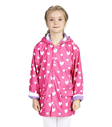 Hatley Printed Raincoats impermeable, Rosa (Colour Changing Sweethearts 650), 6 años para Niñas