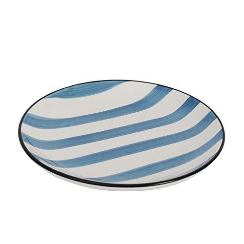 ProCook Dartmouth - Petite Assiette/Assiette à Dessert - en Grés - Motif Rayures - 19cm - Bleu