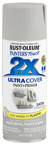 Rust-Oleum 249855 Painter's Touch 2X Ultra Cover, 12 Oz, Satin Stone Gray