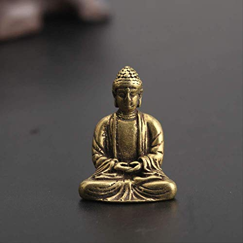 ZWWZ Antike Messing Buddha Statue Home Decorations Handwerk Zubehör Für Wohnzimmer Kupfer Tasche Buddha Figuren Ornament MISU