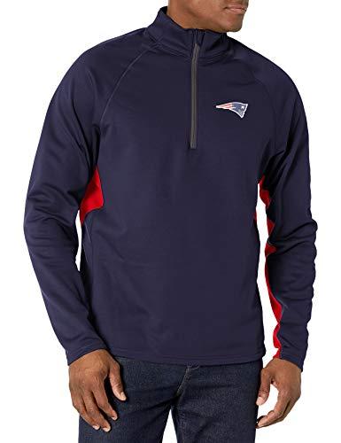 OTS NFL New England Patriots Men's Poly Fleece 1/4-Zip Pullover, Logo, Large