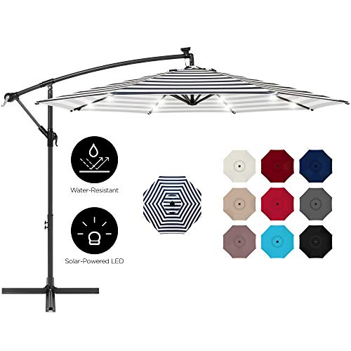 Best Choice Products 10ft Solar LED Offset Hanging Outdoor Market Patio Umbrella w/Easy Tilt Adjustment - Navy Stripe
