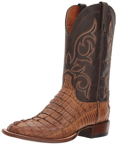 Lucchese Bootmaker Men's HAAN Western Boot, tan Burnished/Chocolate, 11 2E US