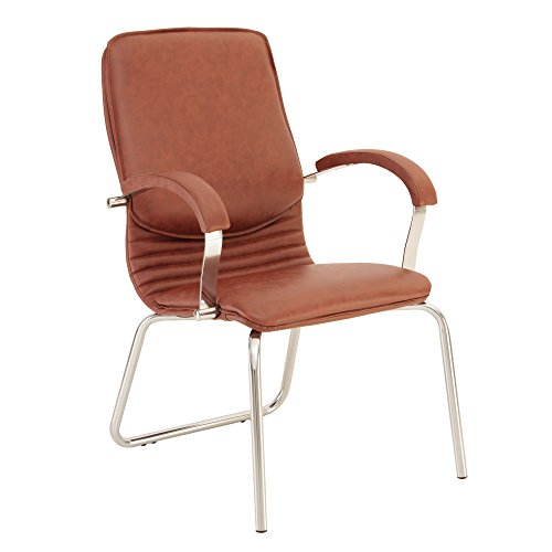 Nova Steel Chaise DE CONFÉRENCE/Chaise DE Bureau/Fauteuil DE Salon DE LUX AU Design REMARQUABLE.Hauteur D'ASSISE 64 cm.Dossier AU Soutien Lombaire .Marron