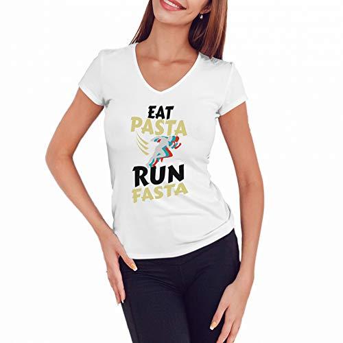 Eat Pasta Run Fasta Camisa Blanca Cuello V Mujer Size
