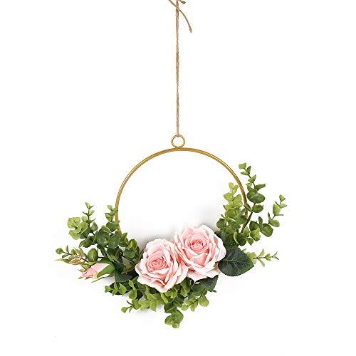 HUAESIN Künstliche Blumenkranz für Metallring Blumenkranz Deko Türkranz Rose Wandkranz Eukalyptus Dekokranz Rose für Weihnachten Geburtstag Party Rosa Dekoration 25cm