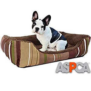 ASPCA Microtech Dog Bed, for Small to Medium Pets, Brown