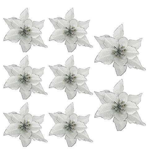 8 Pcs Poinsettia Artificial Flowers Glitter Christmas Tree Flowers Realistic for Christmas Tree Wreath Door Decoration (Silver 15cm)