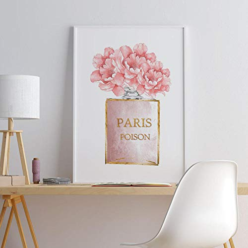 NOBRAND Perfume de Flores Cartel de Moda Bolso de Mujer Lienzo Pintura Arte de la Pared Impresión Imagen Moderna para Sala de Estar en la Pared Decoración para el hogar-60X80 cm sin Marco