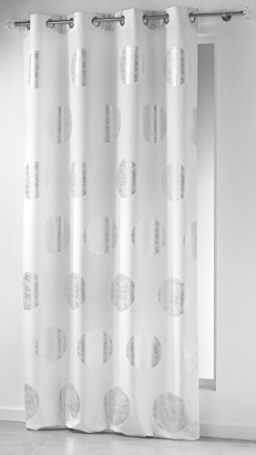 Douceur D'Interieur, Tenda con passanti, in poliestere, con stampa, 140 x 260 cm, Bianco e Argento (Argent Platine Blanc, Weiß)