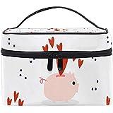 Bolsa de cosméticos Cute Pig Hearts Travel Makeup Organizer Bag Portable Train Case para Mujeres niñas