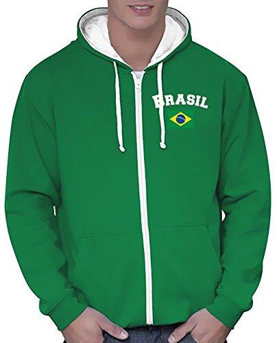 Coole-Fun-T-Shirts Brasilien Sweatshirtjacke Varsity Jacke Green, Gr.S