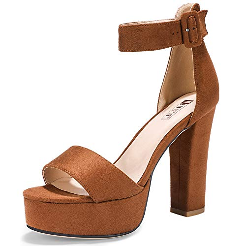 IDIFU Women's IN5 Sabrina Ankle Strap Platform High Chunky Heels Party Sandal(8.5, Tan Suede)