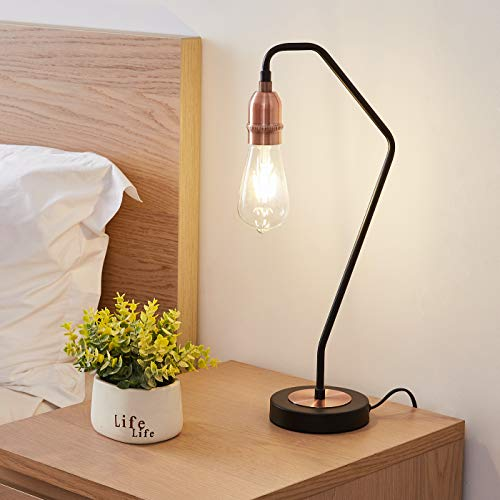 HARPER LIVING Industrial Retro Table Lamp, Black and Copper Finish, E27 Screw, Suitable for LED Upgrade, Ideal for Living Room, Bedroom, Kitchen, Hallway, Hotel, B&B