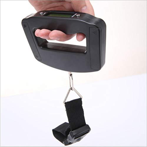 chuanglanja Tragbare Mini-Digital-Handhalterung 50 kg * 10 g Angelhaken-Hängewaage Elektronische Gewichtungsgepäckwaage Blaue LED-Displaybeleuchtung mit Hintergrundbeleuchtung