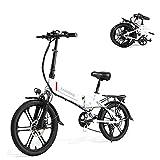 SAMEBIKE 20LVXD30-II Versione di Aggiornamento 350W 48V 10.4AH Bici Elettrica da 20 Pollici Ruota Pieghevole Bicicletta Elettrica per Adulti (Bianco)