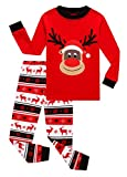 KikizYe Little Girls Boys Long Sleeve Christmas Red Pajamas Sets 100% Cotton Holiday Pyjamas Toddler Kids Pjs Size 5 Reindeer