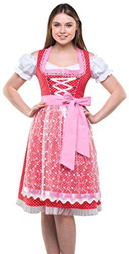 Bavarian Clothes Dirndl Damen Rosa Weiß Gepunktet 3 teiliges Set '6040' Midi Dirndl mit Dirndlbluse und Rosa Spitzenschürze (Größe 34)