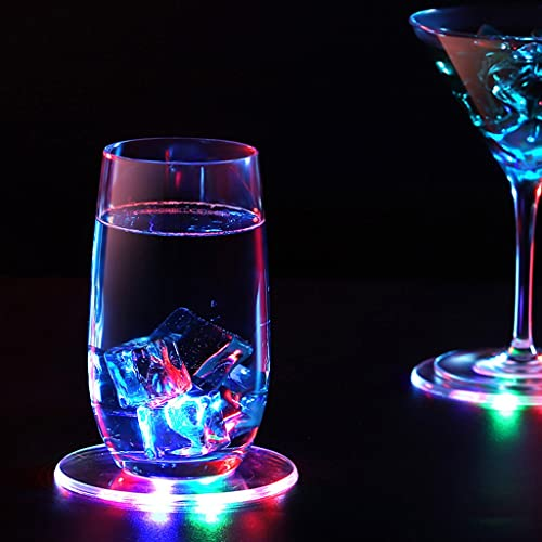 JDKC- Sottobicchieri da Cocktail LED Cup, Sottobicchieri Luminosi, Interruttore ON/off, Sottobicchieri Rotondi Acrilici per Bevande, per Beer Cocktail Party Matrimoni Bar Natale