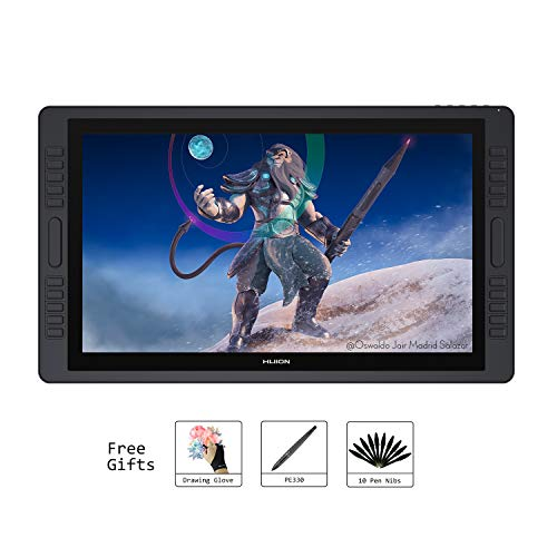 HUION KAMVAS GT-221Pro 21,5 Zoll Grafiktablet Digitaler Grafiktablett mit Display mit 20 Express-Tasten und Touch Bar, 8192 Drucksensitivität, unterstützt Windows/MacOS