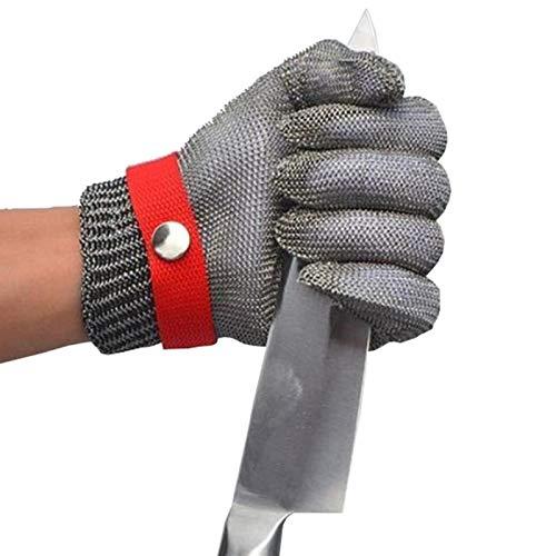 Schnittfeste Handschuhe Sicherheitsarbeitshandschuh Cut Resistant Handschuhe 316L Edelstahl Metallgeflecht Metzger Handschuh Level 5 Schutz, 6 Größen (Size : Small)