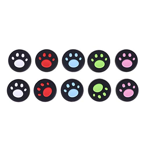 Toyvian 10pcs Joy con Thumb Grip Set Joystick Cap Compatible con Nintendo Switch Silicone Analog Stick Cap para Joy-con Controller