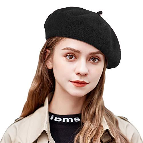 Tacobear Damen Baskenmütze Französisch Barett Wollmütze Wintermütze Barett Kappe Hut Herbst Winte Wolle Barett für Frauen (Schwarz)