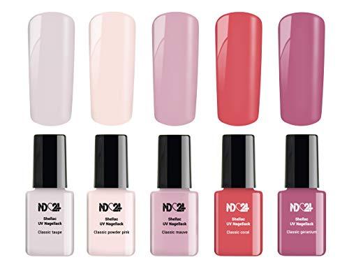 5 x 12ml - ROSY ROSE Collection SPAR SET - SHELLAC UV Nagellack - UV LED Color Nail Polish Rosa Pink - GelLack Soak Off Gel - MADE IN GERMANY