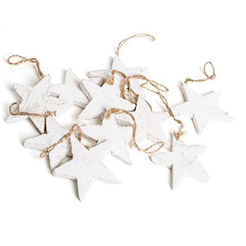 Logbuch-Verlag - Juego de 10 estrellas blancas de madera con cuerda, diseño de estrella de Navidad