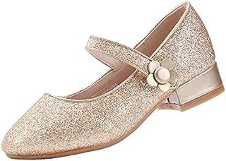 EIGHT KM EKM7018 Girls Mary Jane Low Heel Glitter Formal Dress Pumps Shoes Gold Size 2.5 US Big Kid