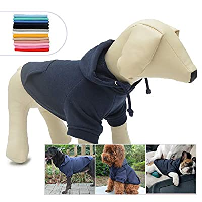 lovelonglong 2020 New Pet Clothing Clothes Dog Coat Hoodies Winter Autumn Sweatshirt For Small Medium Large Size Dogs 11 Colors 100% Cotton Navy-blue S