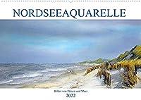 Nordseeaquarelle (Wandkalender 2022 DIN A2 quer): Aquarelle von Duenen und Meer (Monatskalender, 14 Seiten )