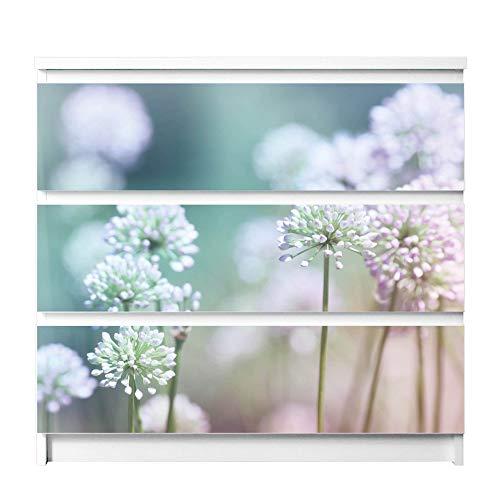 banjado Möbelfolie passend für IKEA Malm Kommode 3 Schubladen | Möbel-Sticker selbstklebend | Aufkleber Tattoo perfekt für Wohnzimmer und Kinderzimmer | Klebefolie Motiv Lauchblüte