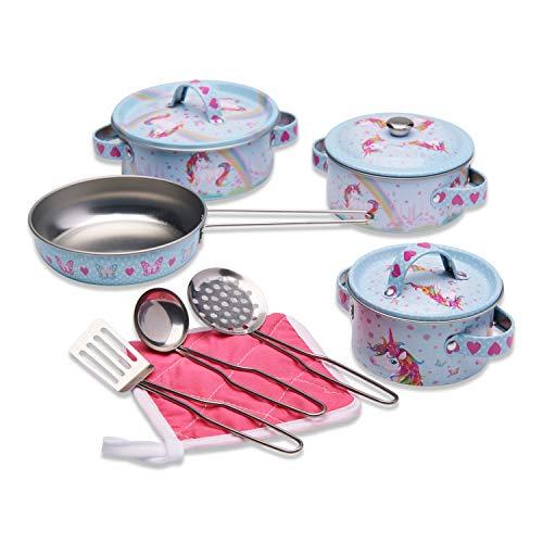 Wobbly Jelly - Set da Cucina Unicorno Sogno per Bambini - Set Giocattolo da 11 pentole e padelle per Bambini - Accessori Giocattolo da Cucina