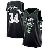 WOLFIRE SC Camiseta de Baloncesto para Hombre, NBA, Milwaukee Bucks #34 Giannis Antetokounmpo. Bordado, Transpirable y Resistente al Desgaste Camiseta para Fan (Negra, L)