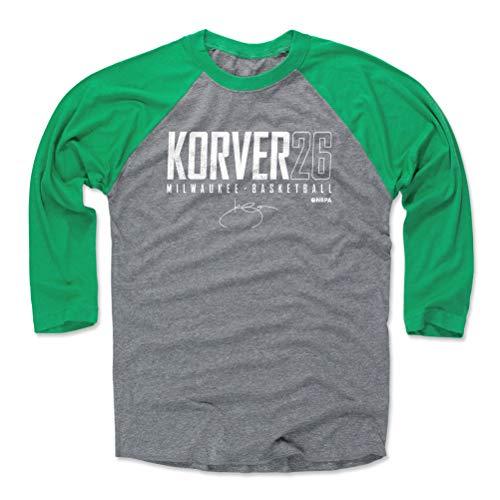 500 LEVEL Kyle Korver Tee Shirt (Baseball Tee, XX-Large, Green/Heather Gray) - Milwaukee Raglan Tee - Kyle Korver Milwaukee Elite WHT