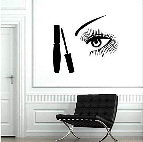 Stickers Muraux Tatouage Des Yeux Maquillage Cils Sourcils Conception De Salon De Beauté Mascara Décoratif Tatouage 42X47 Cm