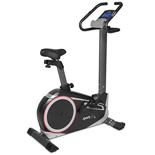 SportPlus Fahrradergometer mit App-Steuerung, Google Street View, Wattanzeige, ca. 10kg Schwungmasse, 24 Widerstandsstufen, Handpulssensoren, Nutzergewicht bis 150kg, Sicherheit geprüft