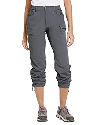 BALEAF Women's Hiking Cargo Pants UPF 50 Outdoor Athletic Stretch Pants Water Resistant Zipper Pockets Gray M